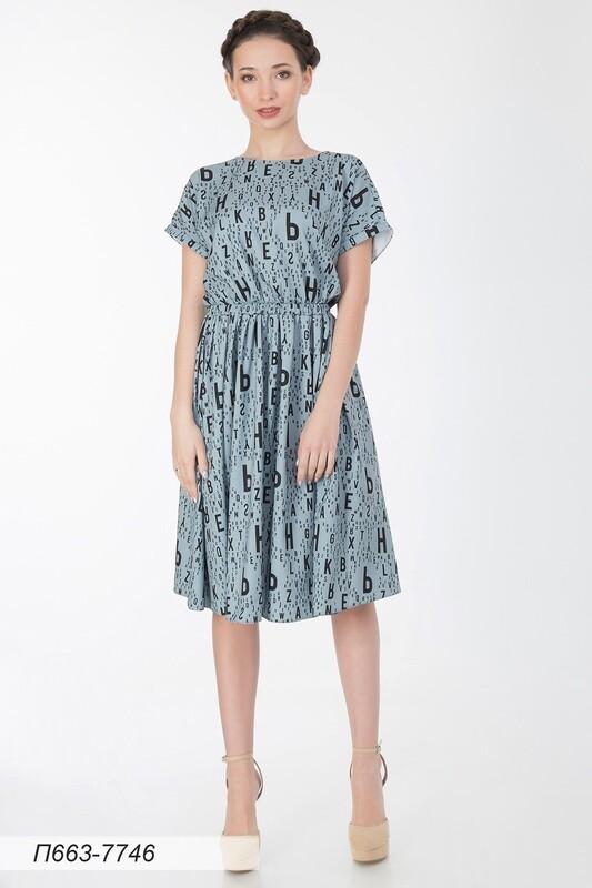 Платье 663 вискоза твил серо-черная Литера