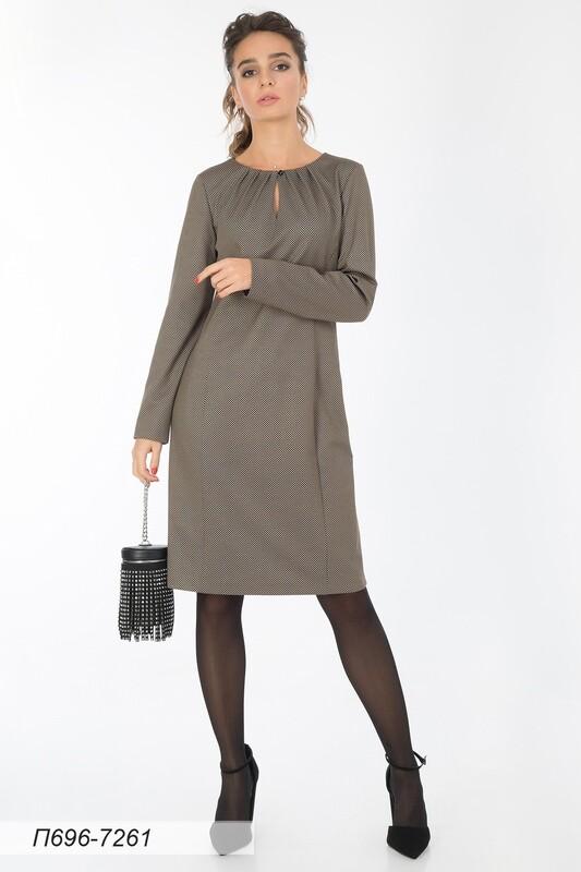 Платье 696 тр-ж черно-бежевый Гленчек