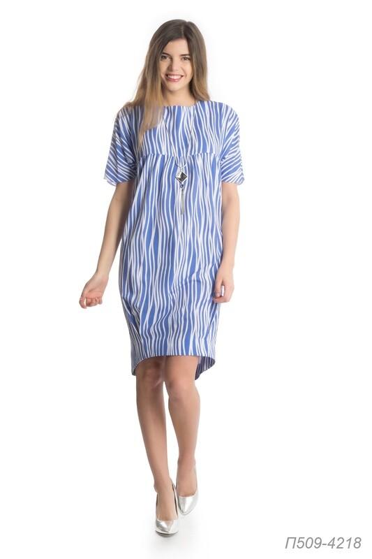 Платье 509 креп лазурно-белый Волна