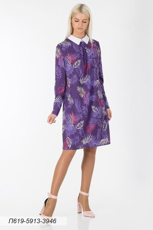 Платье 619 креп-шифон фиолет-малинов Листья