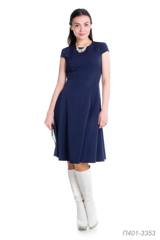 Платье 401 костюмная темно-синяя