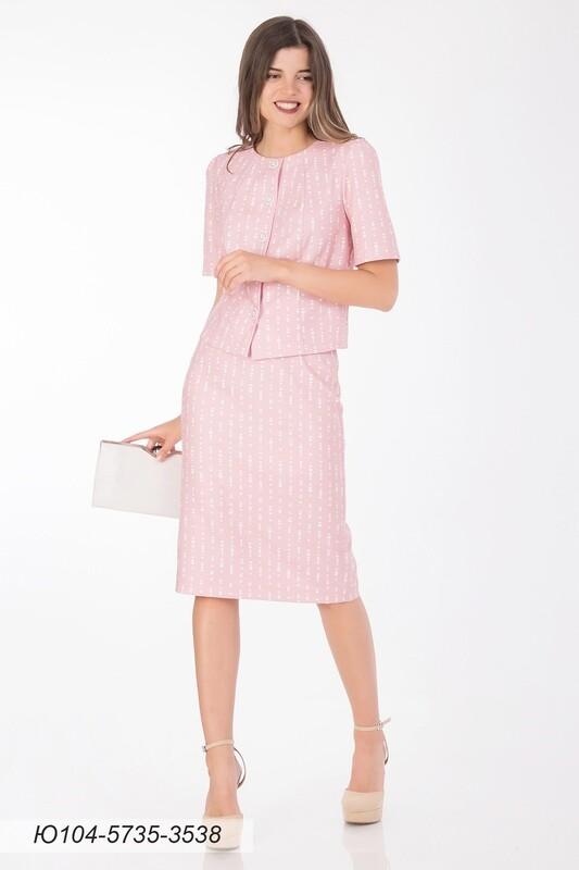 Юбка 104 костюмная розово-белая Сердечки