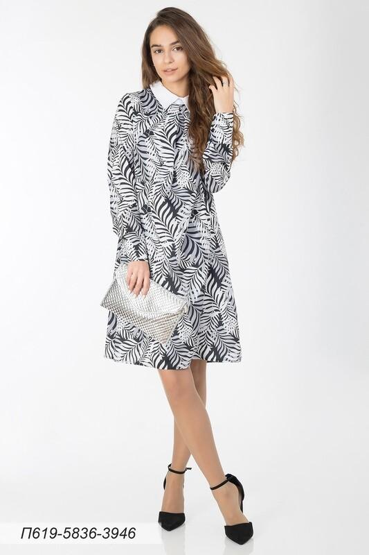 Платье 619 креп-шифон черно-сер Пальма