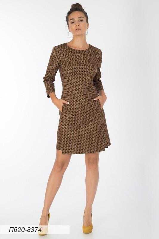 Платье 620 тр-ж горчично-черн Ника