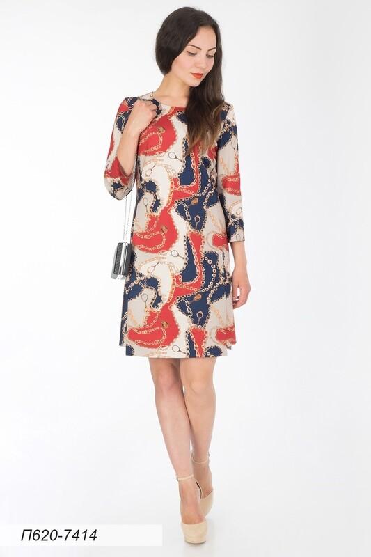 Платье 620 тр-ж сине-беж Цепочка
