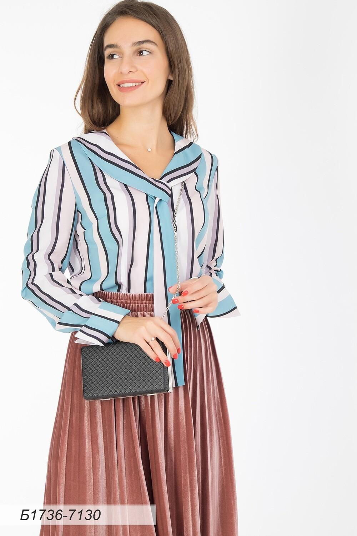 Блузка 1736 креп-шифон бирюз-лилов Полоска