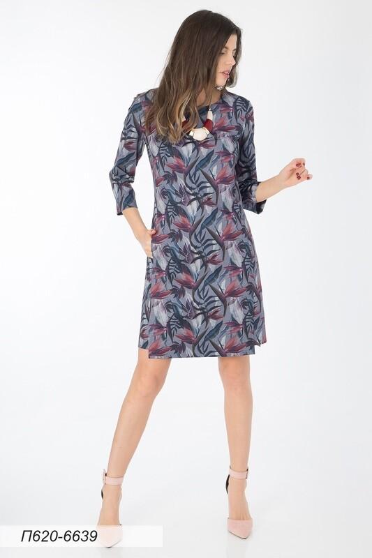 Платье 620 тр-ж серо-лиловый Стрелиция