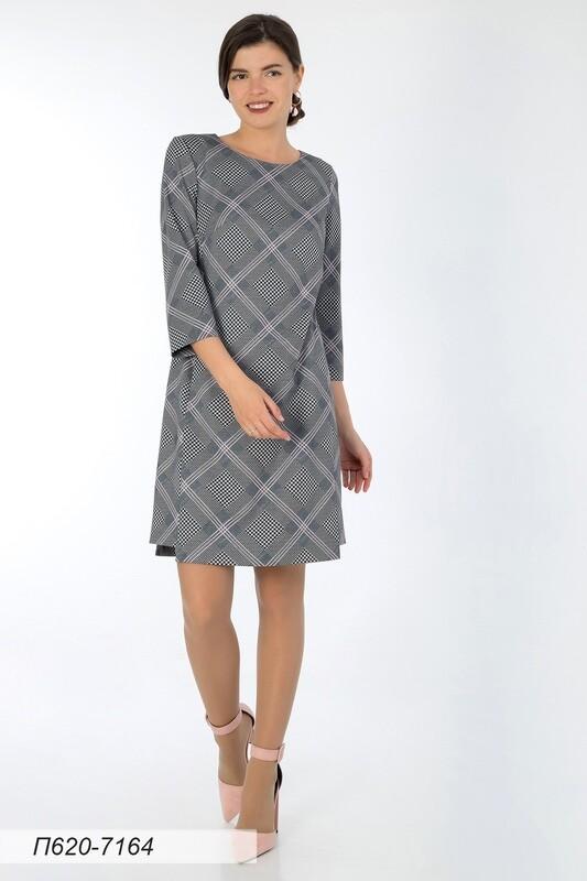 Платье 620 тр-ж черно-розовый Клетка