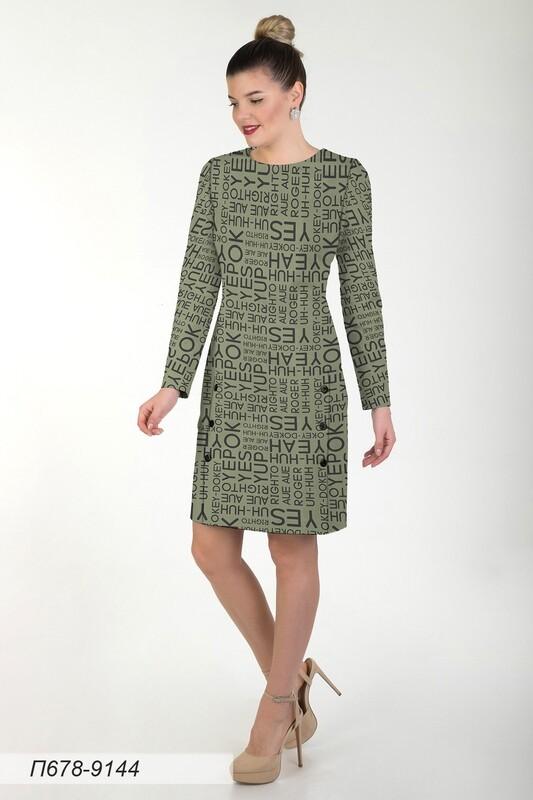 Платье 678 тр-ж оливк-чер Yes