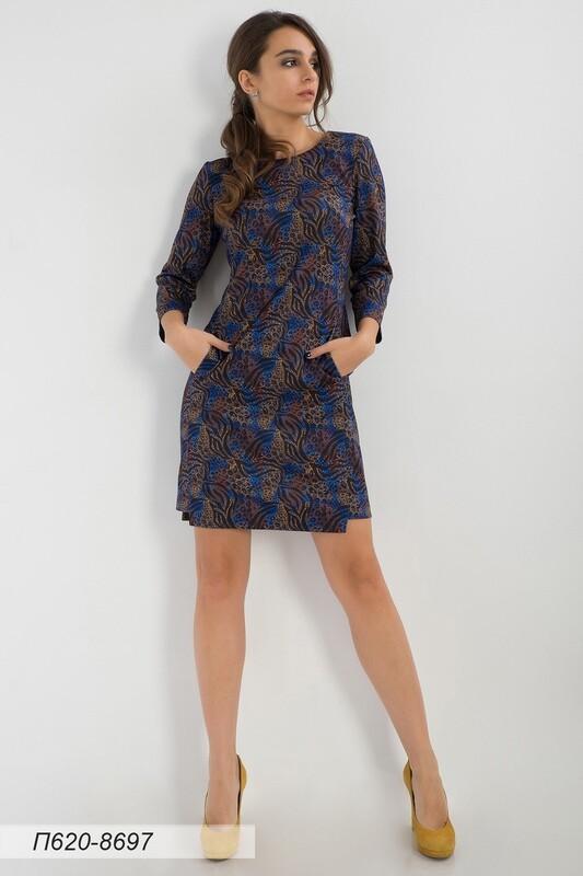 Платье 620 тр-ж елочка син-коричн джунгли