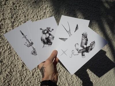 Set of 4 small prints