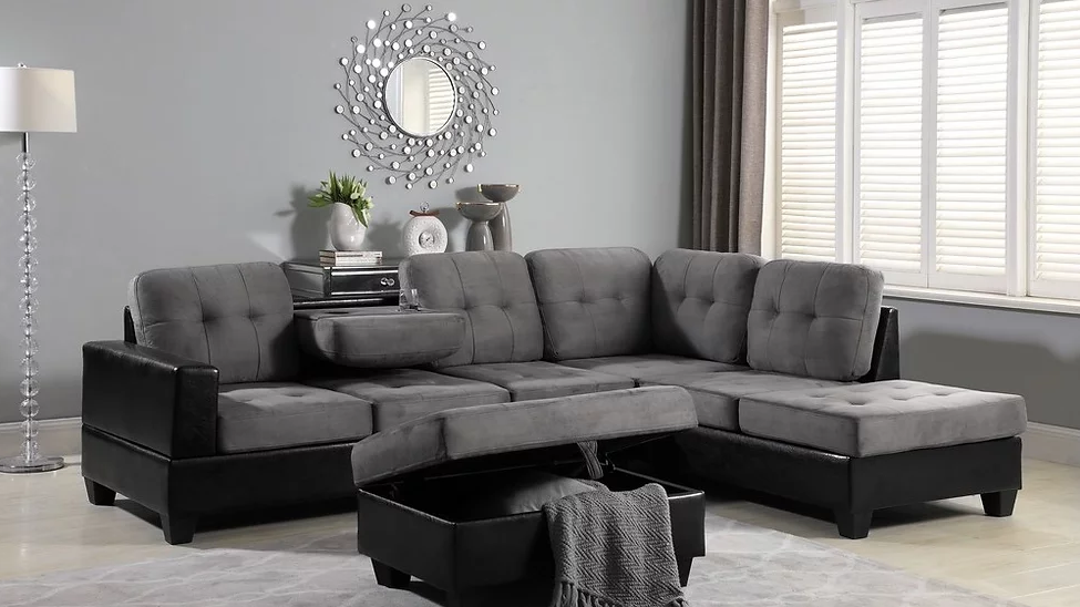 Grey Sectional with Storage Ottoman