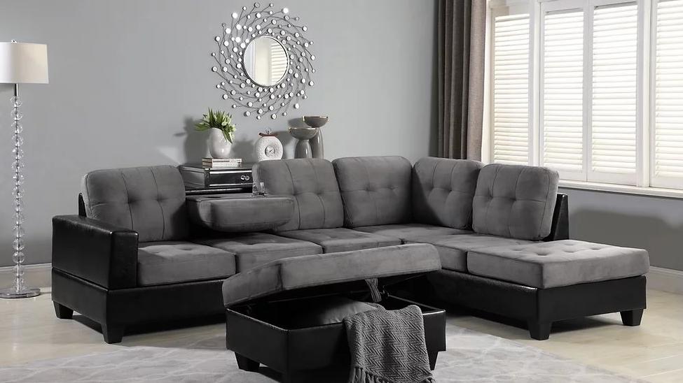 Grey Sectional with Storage Ottoman *SPOOKY SALE*