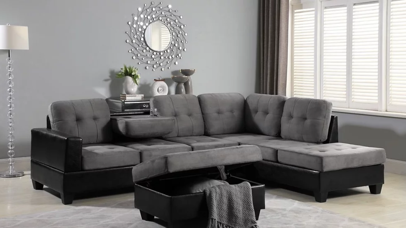 Grey Sectional with Storage Ottoman *FALL SALE*