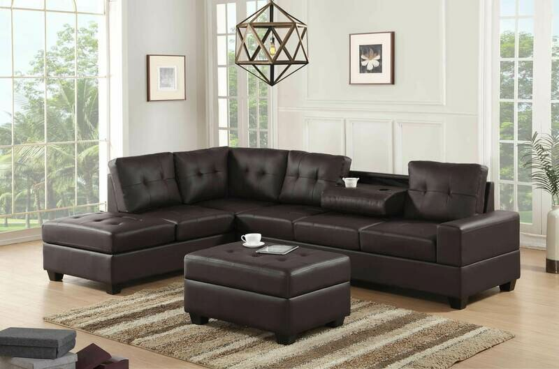 Espresso Sectional with Storage Ottoman *FALL SALE*