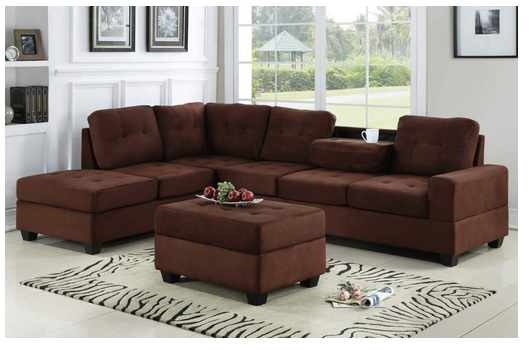 Chocolate Sectional with Storage Ottoman *EARLY BLACK FRIDAY SALE*