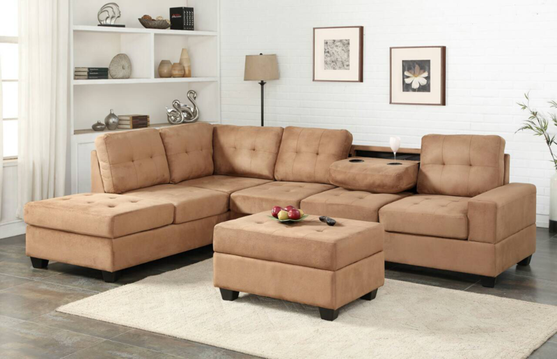 Sand Sectional with Storage Ottoman