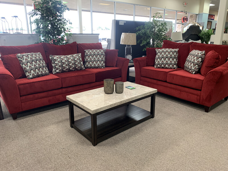 Red Sofa & Loveseat