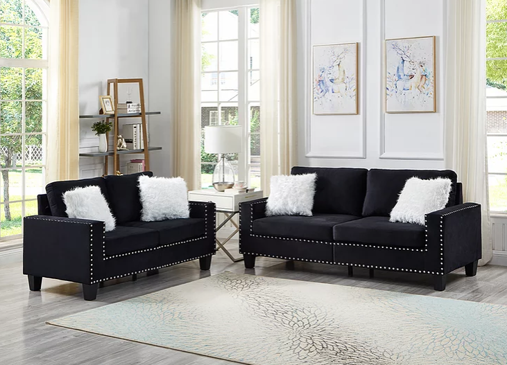Cindy Sofa and Loveseat- Black