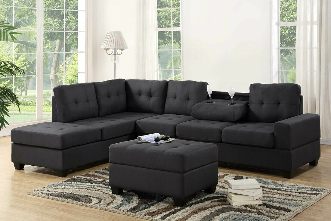 Black Sectional with Storage Ottoman