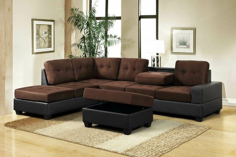 Chocolate Sectional with Storage Ottoman