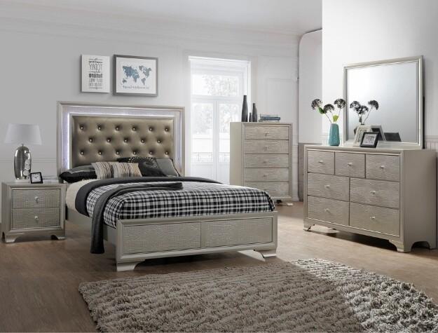Lisa Queen Bedroom Set - Champagne