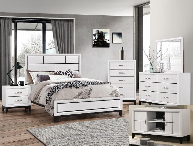 Akerson White Bedroom Set- Queen