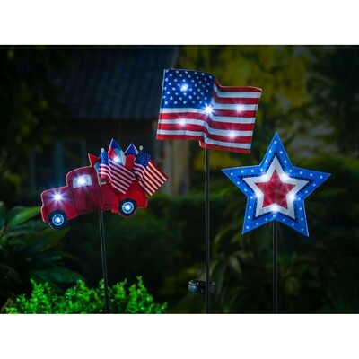 Americana Forever Botancials Lit Fabric Stakes