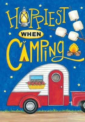 Happiest When Camping Flag