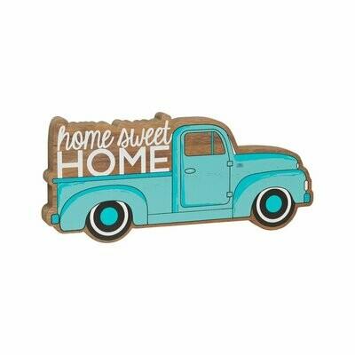 Home Blue Truck Wood Cutout