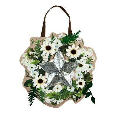 Galvanized Star Wreath Door Decor