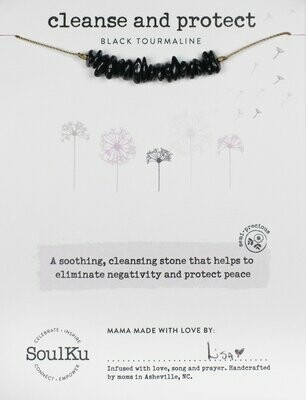 Seed Necklace Black Tourmaline - Cleanse & Protect