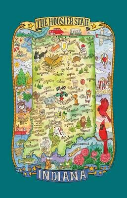 INDIANA MAP TOWEL