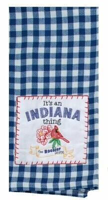 STATE THING INDIANA EMBROIDERED TEA TOWEL