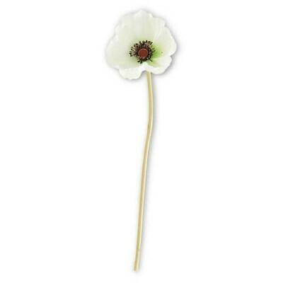 White Real Touch Mini Poppy Stem