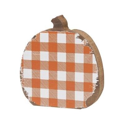 Med. Orange Check Wood Pumpkin