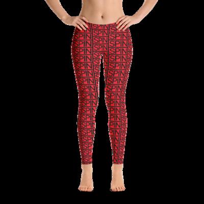 Leggings in Red, SPIN Logo Pattern