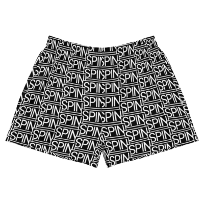 Women's Athletic Short Shorts, SPIN Logo Pattern