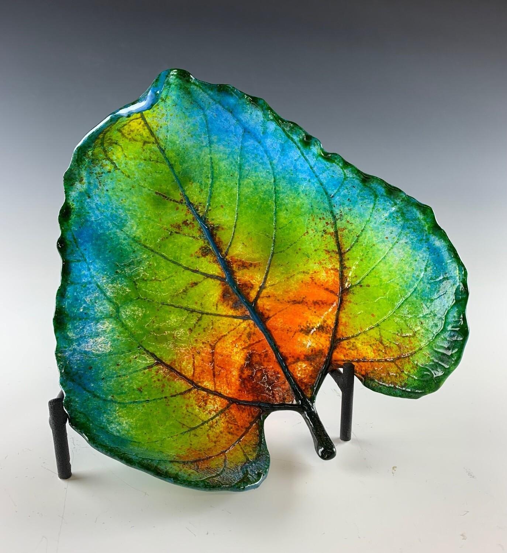 Cast Glass Sunflower Leaf  - Medium