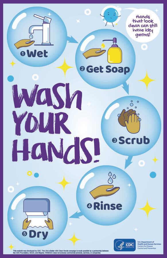 """12""""x 18"""" Wash Your Hands! Poster"""