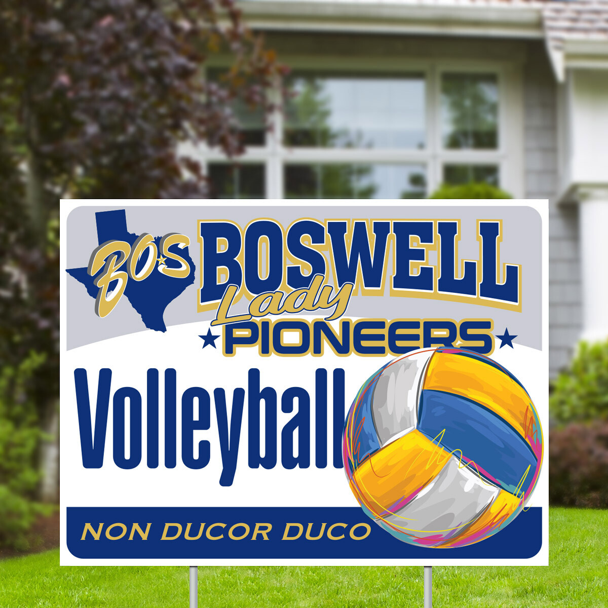 Boswell Lady Pioneers Volleyball Yard Sign