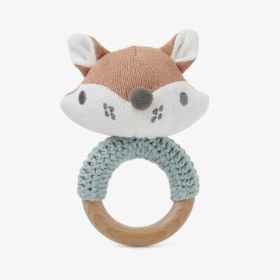 Elegant Fox Ring Rattle Wood