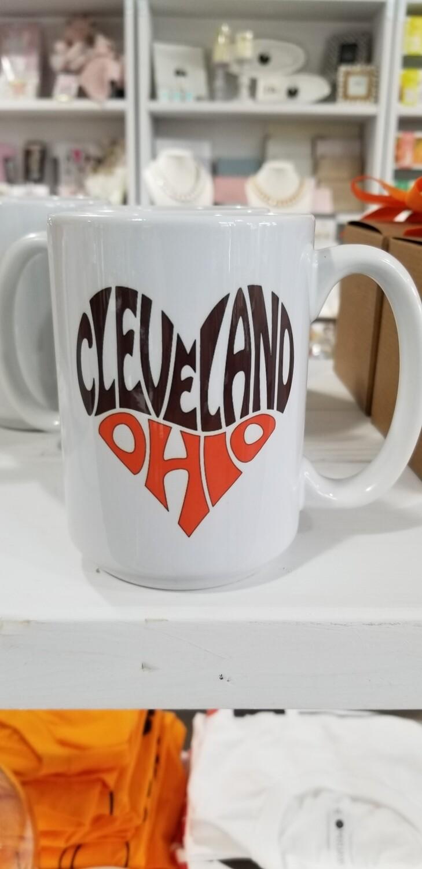 Queen Bee Designs Cleveland Ohio Mug Brown And Orange