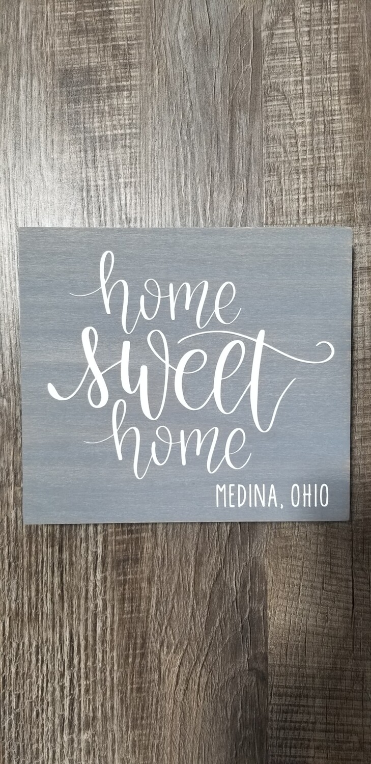 Queen Bee Designs Home Sweet Home Sign Gray 8x9