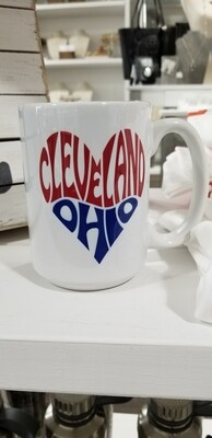Queen Bee Designs Cleveland Ohio Mug Blue And Red