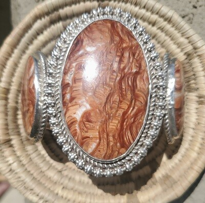 *NEW* Navajo Picture Jasper and .925 Sterling Silver Bracelet by William Singer