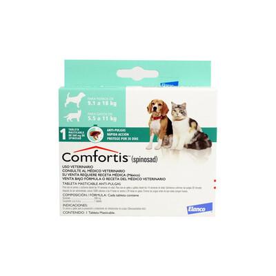 Anti-Pulgas, Comfortis,  Perros 9.1 a 18 kg, Gatos 5.5 a 11 kg.