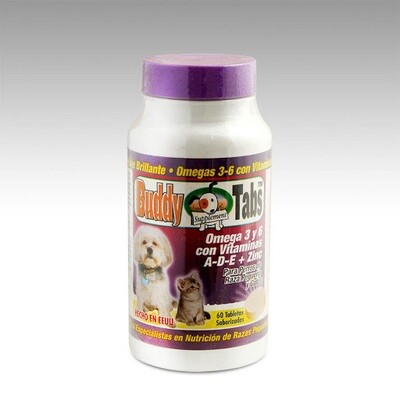 Buddy Tabs-Omega 3 y 6 con vitamina A-D-E + Zinc