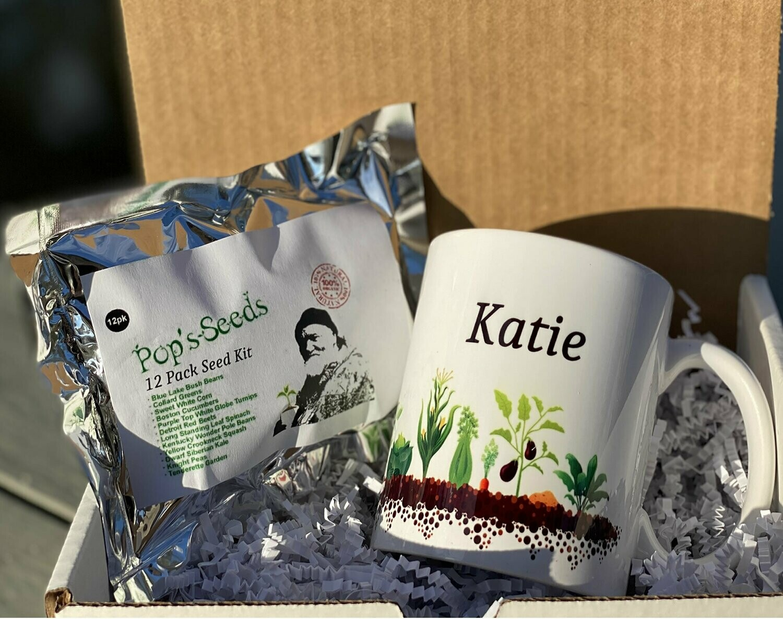 Personalized Gardener Gift Set - 12 Pack Survival Garden - Gift Mug - Seed Packs - Heirloom Organic Vegetable Seed Packs - Non-GMO