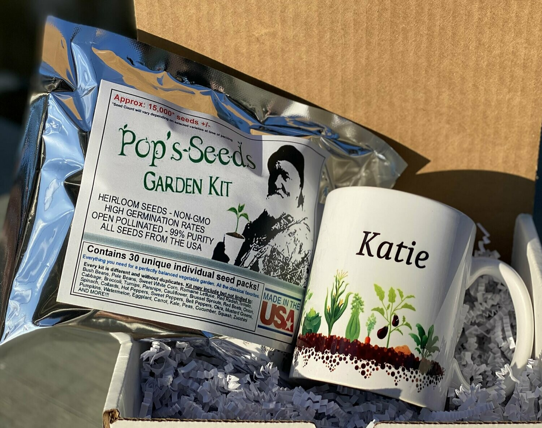 Personalized Gardener Gift Set - 30 Pack Survival Garden - Gift Mug - Seed Packs - Heirloom Organic Vegetable Seed Packs - Non-GMO